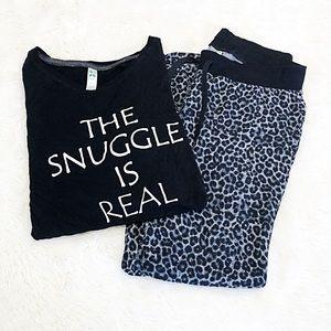 Black Leopard Print Lounge Pajamas